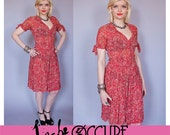 Vintage 1940s Silk Crepe Chiffon Paisley Print Dress with Pintucked bodice and Tie Sleeves