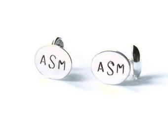 Personalized cufflinks Silver Monogram cufflinks mens cuff links custom initial cufflinks wedding cufflinks solid sterling silver cufflinks