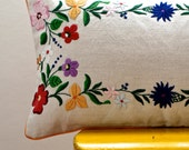 OOAK repurposed hand embroidered floral pillow cover