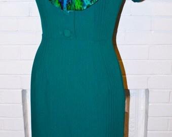 Sexy Secretary Joan- Pinup 1960s- Teal Wiggle Dress- Mad Men Style Custom Size