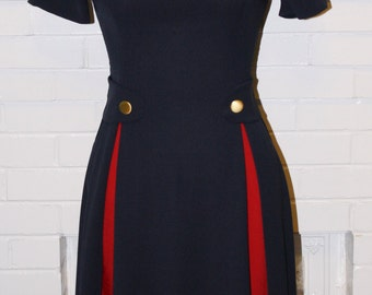 Peggy -60s Work Dress-Mad Men-Military StyleNavy Blue With Red-Custom Sized to Fit