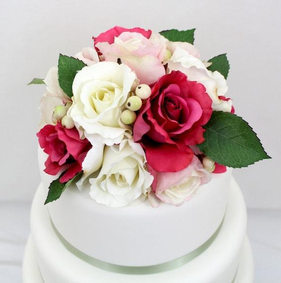Silk Flower Wedding Cake Toppers: Wedding Cake Topper Hot Pink White Rose Silk Flower Cake
