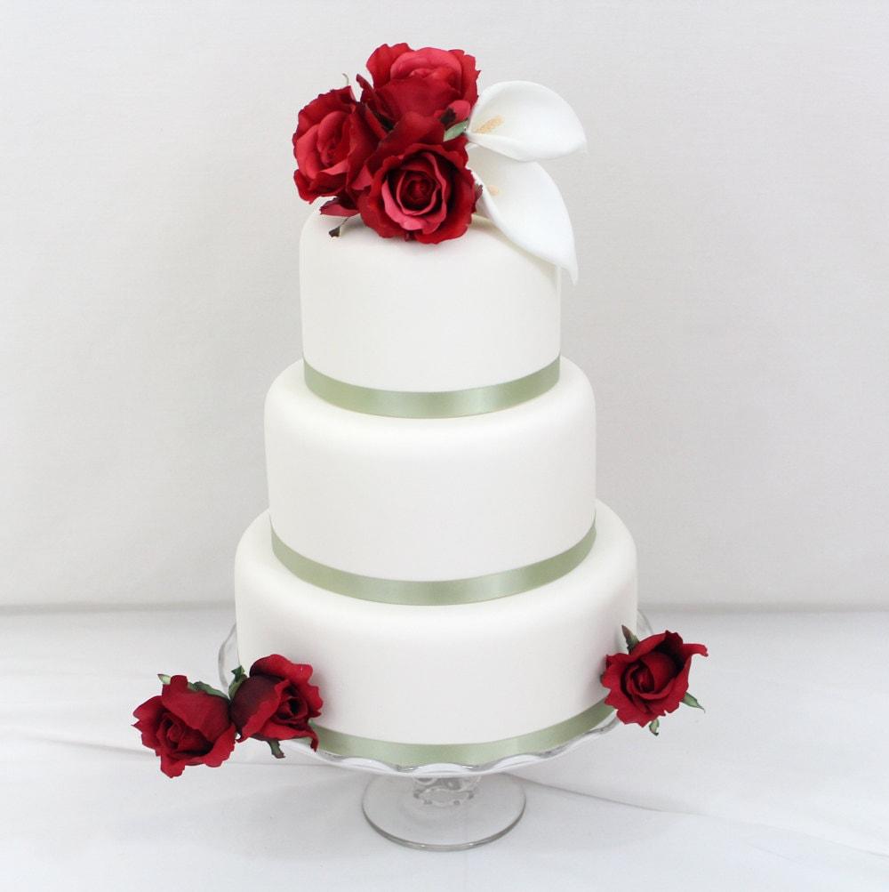 Rose Wedding Cake: Wedding Cake Topper Red Rose Calla Lily Wedding Cake