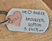 We Heart Daddy - Hand Stamped & Personalized Copper Key Chain -Add your Kids Name's in Child's Handwriting Font