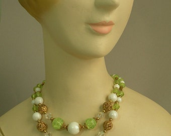 Vintage Lime Beaded Necklace
