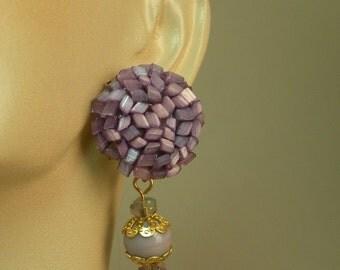 Violet Beaded Dangle Earrings