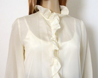 Vintage 1970s Blouse Semi Sheer Cream Ruffle Blassport Blouse / Small to Medium