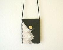 Crochet Cross Body Bag Tribal Long Shoulder Strap Chevron Stripe Bag Black White Beige