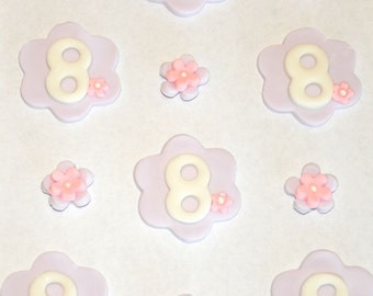 Flower Birthday Fondant Toppers for Cupcakes, Cakes, Cookies or Brownies- Edible- 1 DOZEN