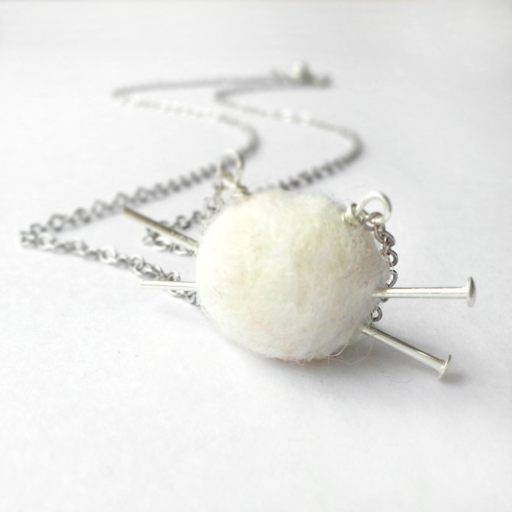 Knitting Needle Gauge Necklace : Free shipping knitting necklace white ball of by