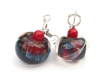 Lampwork Bead Earrings, Red and Blue, .925 Sterling Silver Earrings, Cherry Red Shell Beads, Boro Beads, Handmade Jewelry, Dangle Earrings
