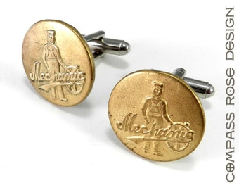 Steampunk Cufflinks, Vintage Uniform Button Cuff Links, 1900-1908 Overall Button Mechanic Cufflinks