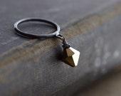 Glamorous Swarovski Crystal Dangling on Oxidized Sterling Silver Ring