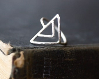 Triangle Ring - Sterling Silver - Made to Order - Hammered