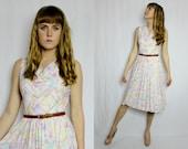 SALE - Vintage Pastel designer cowl neck dress
