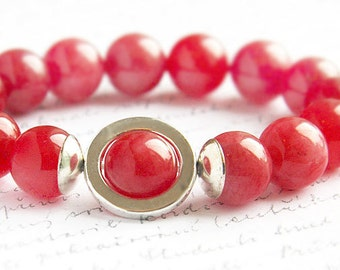 Red Agate Bracelet Big Bold Bracelet Sterling Silver Bracelet Colorful Bracelet Statement Bracelet Artisan Stacking Bracelet jewelry trend
