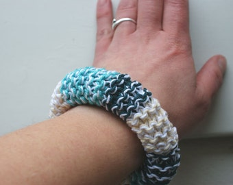 Aqua, green and sand knitted cotton bracelet Ibiza style beach style