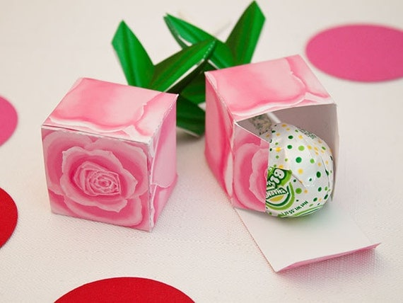 Rose Lollipop Favor Box : Full-Color Digital Template | Beauty and the Beast Rose Gift Box | Print at Home | DIY Printable | Digital File