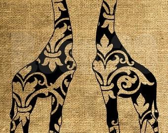 INSTANT DOWNLOAD - Vintage Giraffes Illustration - Download and Print - Image Transfer - Digital Sheet by Room29 - Sheet no. 892