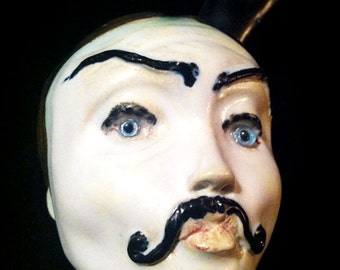 "SALE!  m a t u r e...""Viktor the Czech"" OOAK handmade stoneware ceramic dildo Dandy Dique kiln fired dildoll...sexy moustached toy"