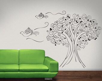 Vinyl Wall Decal Sticker Bird Tree OSDC449s