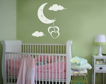 Vinyl Wall Decal Sticker Hearts Hanging off Moon 1091B