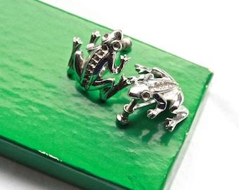 Rare Vintage 1950's Novelty Silver Metal Frog Earrings // Surrealist Jewelry // Rhinestone Screwback Earrings