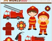 Fire Engine Kid Clipart - INSTANT DOWNLOAD - Digital Clip Art - WA310C2a