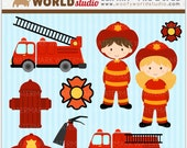 Fire Engine Kid Clipart - INSTANT DOWNLOAD - Digital Clip Art - WA310C2a