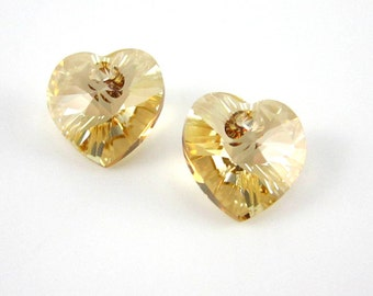 2 Swarovski Crystal 10mm Golden Shadow Hearts