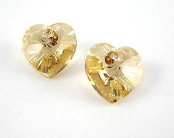 2 Swarovski Crystal 10mm Golden Shadow Hearts