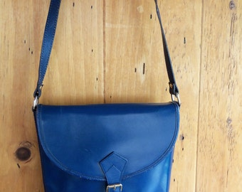 70s CRISTIAN--Made in Italy--Cross-Body Satchel----Blueberry Blue Leather--Military Styling