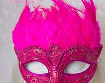 Pink Feather Mask 'Carnival Queen' Masquerade Venetian, Mardi Gras, Victorian, Steampunk, Fetish, Wedding, Bridal, Rhinestone