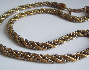 Vintage rope necklace by Casual Corner gold and silvertone Free shipping to USA