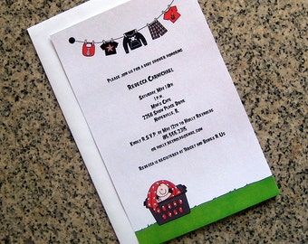 punk rock goth baby boy in a laundry basket clothesline baby shower fully custom invitations with envelopes - set of 10