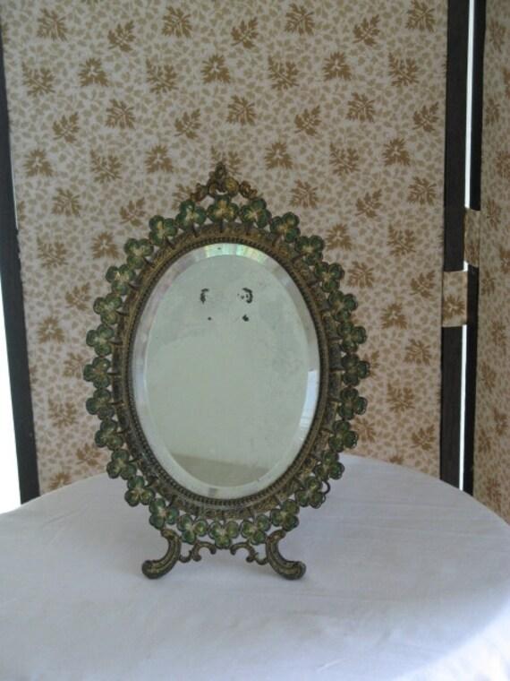 Antique mirror cast iron frame antique standing mirror irish for Standing glass mirror