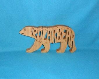 Polar Bear Handmade Scroll Saw Wooden Puzzle