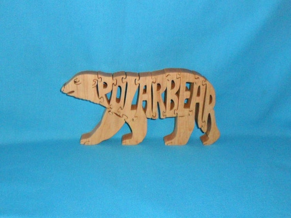 Polar Bear Handmade Scroll Saw Wooden Puzzle