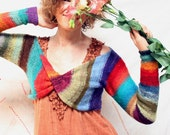 Striped Knit Bolero Shrug, ombre stripes like a Mexican blanket, crazy quilt, rag rug, soft kid mohair and silk