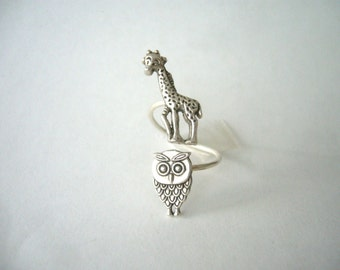 silver owl giraffe ring wrap style, adjustable ring, animal ring, silver ring, statement ring