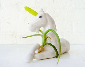 10% SALE - Magic Unicorn Air Plant Garden Planter - Neon Yellow Power Glitter Horn - Plant Vessel Container