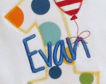 Balloon Birthday Shirt Number Applique Personalized Monogrammed First Second Third