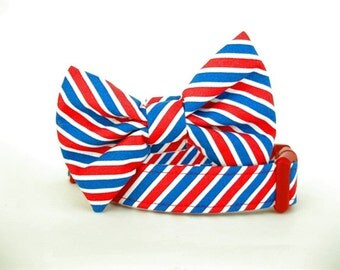 Striped Bow Tie Dog Collar - Red White and Blue