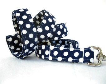 Polka Dot Dog Leash - White Dots on Navy Blue - 6 Foot Length