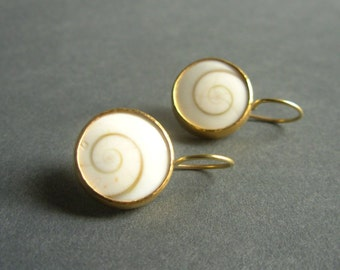 Operculum Gold Earrings - Golden Spiral Earrings - Golden Ratio Earrings - 18K and 22K Gold Earrings - Spiral Gold Earrings - Swirl Earrings