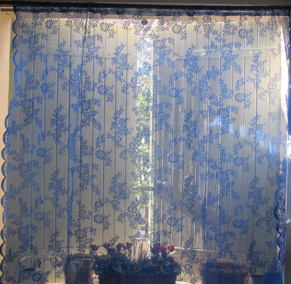Lilac Blue Lace Curtain Hand Dyed French Curtain