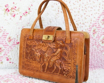 Hariette, French Vintage, Tan Tooled Leather Satchel, 1960s Handbag from Paris