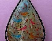 1960's  hand painted vintage pendant