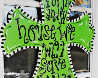 "CROSS ""As for me and my house"" Wood Cut Out Door Hanger"