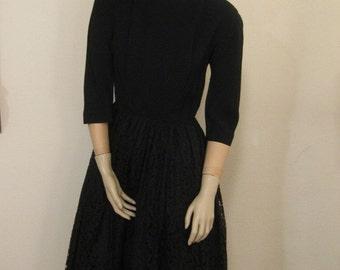 SALE  50s Black Lace Party Dress by L'Aiglon